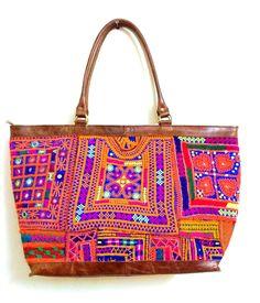 6fc137793f Indian Vintage Banjara Leather Bag hippy gypsy boho mirror work large tote  · Indian EmbroideryWork BagsMirror ...