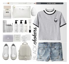 """""""black chokers"""" by meji-maji ❤ liked on Polyvore featuring American Eagle Outfitters, MICHAEL Michael Kors, Byredo, Acne Studios, Balmain, Bella Freud, Deux Lux, Barry M, H&M and Chicnova Fashion"""