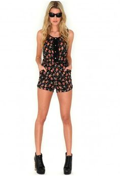 Fiona Floral Chiffon Playsuit In Black - #MGcompetition