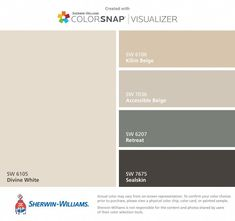 I found these colors with ColorSnap® Visualizer for iPhone by Sherwin-Williams: Divine White (SW Kilim Beige (SW Accessible Beige (SW Retreat (SW Sealskin (SW Paint Color App, Matching Paint Colors, Neutral Paint Colors, Paint Color Schemes, Wall Colors, Coordinating Colors, Interior Paint Colors For Living Room, Exterior Paint Colors For House, Paint Colors For Home