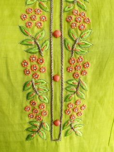 Fresh leaf green Kurta in Linen Silk with Intricate Knot work and Pintucks Detailing. Embroidery On Kurtis, Hand Embroidery Dress, Kurti Embroidery Design, Indian Embroidery, Embroidery Fashion, Hand Embroidery Patterns, Beaded Embroidery, Embroidery Stitches, Zardozi Embroidery