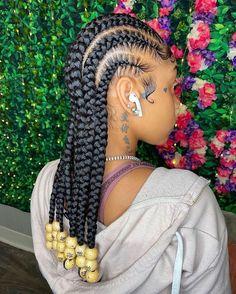 Feed In Braids Hairstyles, Braids Hairstyles Pictures, Braided Hairstyles For Black Women, Baddie Hairstyles, Braids For Black Hair, Hairstyle Short, Dreadlock Hairstyles, School Hairstyles, Hair Updo