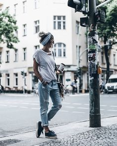 Blue Denim, rips and @manebi sneakers today in hot and sunny Berlin #ootd #denim More