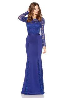 Royal Blue Lace Long Sleeve Fishtail Maxi Dress