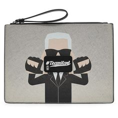 Karl Lagerfeld Printed Metallic Pouch (6,285 THB) via Polyvore featuring bags, handbags, clutches, silver, karl lagerfeld purse, karl lagerfeld, silver clutches, karl lagerfeld handbags и silver metallic purse