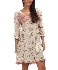 Another great find on #zulily! Beige & Pink Square Neck Empire-Waist Dress #zulilyfinds