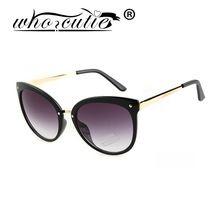 556bcba567c71 Who cutie marca cat eye mulheres óculos de sol acrílico lente proteção uv  400 moda óculos