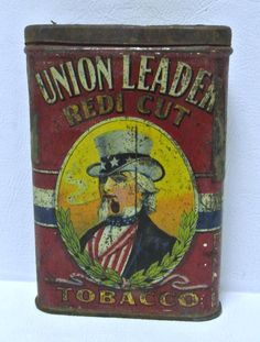 Antique Vintage Union Leader Redi Cut Vintage Tobacco Tin Advertisment Tobacciana Collectible Americana REDUCED by WallflowerAntiques on Etsy