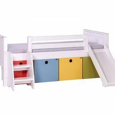 Cama Multi infantil com gavetas, grade de proteção, escorrega e escada…