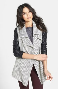 Glamorous Faux Leather Sleeve Knit Jacket available at #Nordstrom