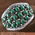 Navajo Native American Sterling Silver and Malachite Cuff Bracelet