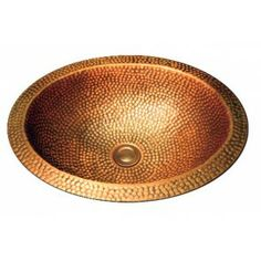 Oval Natural Coffee Hand Hammered Finish Copper Undermount / Drop In Bathroom Sink - 17 x 14 x 5-1/2 Inch