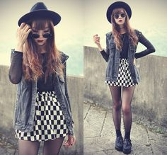 Top half: Jean vest over black (and white elements)... Breathe+Me+(by+Tess+Lively)+http://lookbook.nu/look/4765431-Oasap-Hat-Choies-Checked-Skirt-Breathe-Me