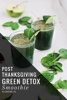 Post-Thanksgiving Green Detox Smoothie | HelloNatural.co :: cucumber, spirulina, bee pollen, banana, lime, spinach......