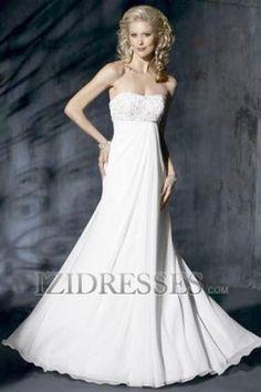 A-Line Empire Strapless Chiffon A-Line Wedding Dresses