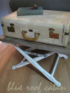 vintage suitcase side table by blue roof cabin