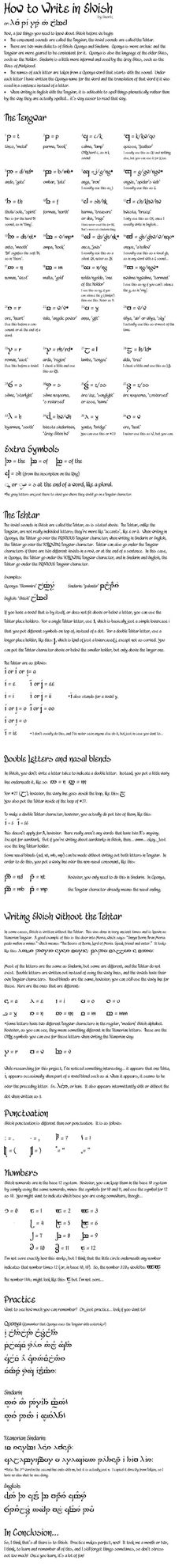 """TUTORIAL: How to write in Elvish. Also, check out a lovely book called """"The Languages of Tolkien's Middle Earth"""". It explains elvish (Sindarian and Quenya), Dwarvish, and others. Written by Ruth S. Noel.:"""