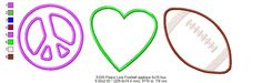 Peace Love and Football applique Machine Embroidery 6x10 design in five popular formats - pinned by pin4etsy.com