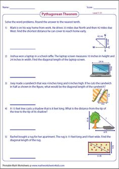 Pythagorean theorem Word Problems Worksheets