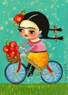 Frida Kahlo riding a bicycle