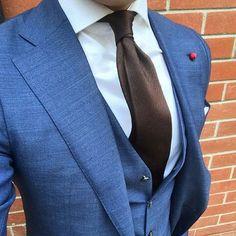 My Dapper Self — A beautiful shade of blue. #blue #tie #brown...