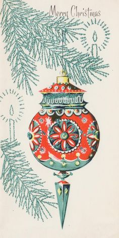 #retrochristmas #merrychristmas Vintage Christmas Card. Retro Christmas Ornament. Vintage Ceramic Christmas Tree, Vintage Christmas Images, Vintage Ornaments, Retro Christmas, Christmas Pictures, Christmas Art, Christmas Greetings, Christmas Ornament, Retro Packaging