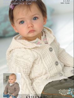 Cabled hooded baby cardigan knitting pattern from Sirdar: get it at LaughingHens.com