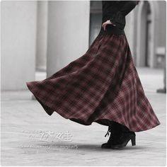Skirt Outfits, Dress Skirt, Waist Skirt, Long Plaid Skirt, Long A Line Skirt, Bohemian Maxi Skirt, England Fashion, Wool Skirts, Maxi Skirts