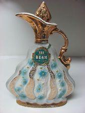 executive jim beam bottles | ... 1972 Jim Beam Executive Decanter Gold Trim Liquor Bottle Floral Vase