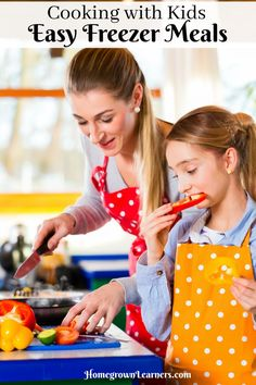 Cooking with kids gives you the opportunity to teach them a variety of skills that go well beyond the task of cooking such as planning, mathematics, and it also develops healthy eating habits.    Here are some tips to take cooking with kids to the next level by teaching them how to prepare easy freezer meals!