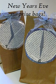 New Years Eve surprise bags with a different, fun activity to do in each bag throughout the night.  Ideas to put in the bags - CD for a 30 minute family dance party, popcorn and DVD, toppings to make your own pizza, sprinkles and candy to make your own cupcake, board game, talent show, photo props for a crazy photo shoot, charade ideas,