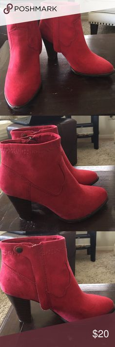 "Beautiful Red Stacked Heel Booties Size 6 Cowgirl style stitched faux red suede ankle boot with a stacked 3"" heel. Inside has a hidden zipper and snap closure, see photo. These boots look so amazing with jeans or a dress! I wish they fit me. They do run true to size, I'm just not a size 6 anymore! Worn only a couple of times. Shoes Ankle Boots & Booties"