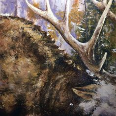 Bull Elk Playing in the Snow x cold wax medium & oil Bull Elk, Oil Paintings, Moose Art, Wax, Snow, Cold, Medium, Animals, Animales