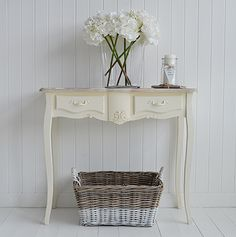 The White Lighthouse hallway furniture. Browse our range of small hall furniture, hallway console tables and hall storage to match every style of interiors, size and budget. Free UK delivery on most hall pieces Hall Furniture, Cottage Furniture, Country Furniture, White Furniture, Country Decor, Living Room Furniture, Painted Furniture, Furniture Ideas, Cream Console Table