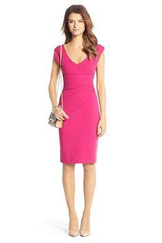 Bevin Ceramic Ruched Sheath Dress In Pink Dhalia