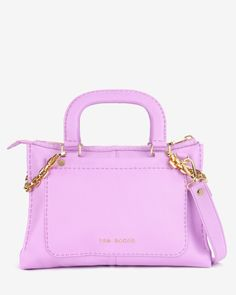 Chain trim leather tote bag - Pale Purple   Bags   Ted Baker