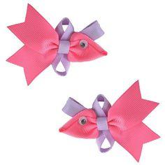 Ribbon Sculpture / Fish Hair Clips / Ribbon Fish Clips / Clip Set / Clips / Summer Clips / Hair Bow