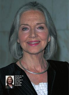 Anna Ford, 64 years old. Look at the tiny photo of her before she went grey. She looks so much better older and grey.