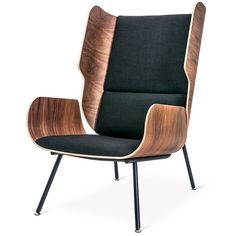 Gus Modern Elk Chair (¥149,320) ❤ liked on Polyvore featuring home, furniture, chairs, seating, sitting, gus modern chair, black furniture, gus modern furniture, black wingback chair and black chair