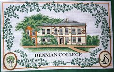 Souvenir teatowel from Denman College, opened by the NFWI in 1948 to provide education and training opportunities for WI members.  The college, at Marcham in Oxfordshire, is now open to non-members (including men), and offers a huge range of residential and day courses.