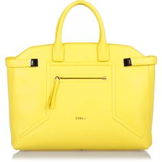 Furla ALICE Leather Handbag ($320) ❤ liked on Polyvore featuring bags, handbags, shoulder bags, yellow, hand bags, man bag, shoulder strap handbags, leather hand bags and yellow purse