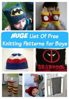 Huge list of free knitting pattens for Boys