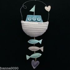 Would be cute for a nursery...GISELA GRAHAM FABRIC BOAT HANGING DECORATION NAUTICAL SEASIDE RETRO HOME GIFT