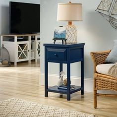 Beachcrest Home Maquoit Side Table Finish: Indigo Blue Ink End Tables With Storage, Ceramic Table Lamps, Bedroom Themes, Display Shelves, Engineered Wood, Open Shelving, Living Room Furniture, Wood Furniture, Entryway Tables