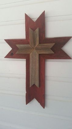 Unique Red Rustic Wood Wall Cross SALE by dontthrowthataway Wooden Crosses, Wall Crosses, Cross Wall Art, Crosses Decor, Rustic Wood Walls, Barn Wood, Rustic Cross, Repurposed Wood, Salvaged Wood