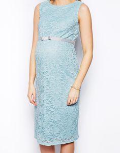 ASOS Maternity | ASOS Maternity Exclusive Lace Body-Conscious Dress With Ribbon Detail at ASOS