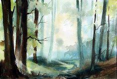Landschaft im Odenwald / Aquarell von Hans-Jakob Bopp