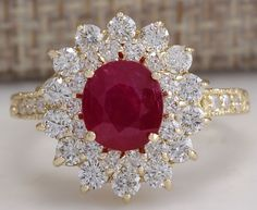 Gorgeous Natural Red Ruby and Diamond Ring
