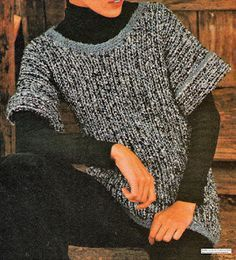 This good old sweater tube: Knitted tube short sleeve sweater with needles - Knitting 02 Crochet Poncho, Knit Crochet, Old Sweater, Sweaters, Cardigans, Knit Jacket, Vintage Knitting, Knitting Patterns, Pullover