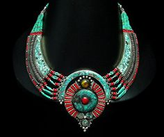 Buy Online Hand inlaid Turquoise and Coral stone mosaic necklace with a huge fabulous pendant. From the Himalayan region, Nepali Tibetan Nep...
